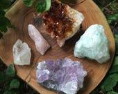 Reserved for Lauren- amethyst, rose quartz, quartz, citrine, fluorite