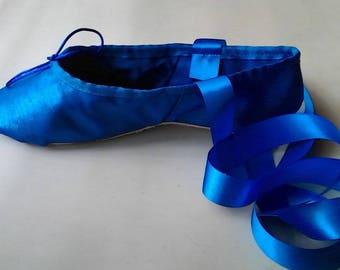 Royal Blue 'Crystal Shine' Satin Ballet Shoes - Full sole or Split sole - Adult sizes