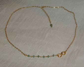 Necklace Sterling Silver + Gold 22K_Emeraude naturelle_ main_creation made.