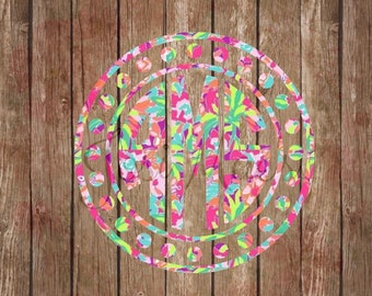 Lily Pulitzer inspired Monogram Decal - Car Monogram - Yeti Tumbler Monogram - Large Monogram