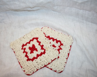 Pair of Vintage Rectangle Red and White Potholders