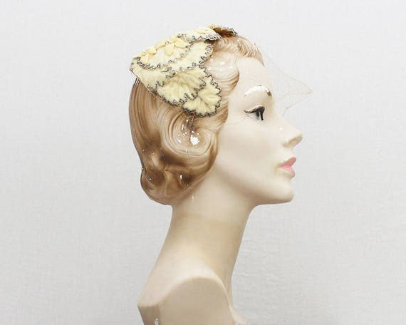 Vintage 1950s Beaded Velvet Wedding Hat