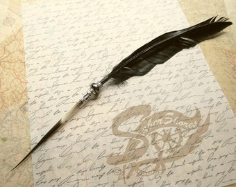 SUMMER SALE: Quill Pen Raven's Wing Ink Dip Porcupine Quill Feather Pen and Hematite STEAMPUNK