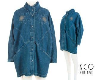 Oversized Denim Jacket Batwing Jean Jacket Bedazzled Embellished Studded Jacket Vintage Coat 80s 90s Vintage Clothing Women's Plus Size 1X+