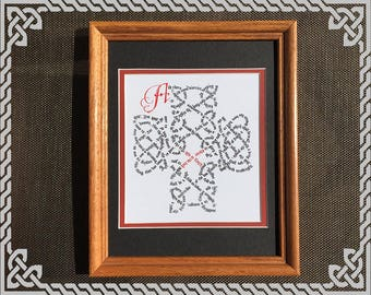 """Calligraphic Celtic Knot 8""""x10"""" Matted Digital Print (Christmas Story according to Luke)"""