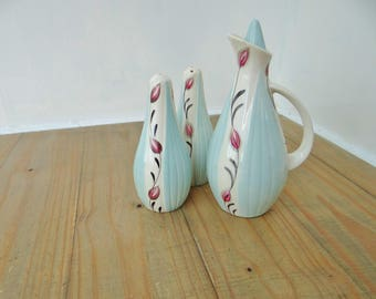 Vintage Cruet Set, Hand painted, Flower Pattern, English Pottery, Circa 1950s