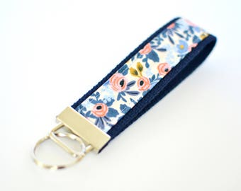 Rifle Paper Co Fabric Key Chain, Blue Key Holder, Floral Key Fob, Wristlet Key Chain for Women, Wrist Lanyard Navy Key Holder Gift Under 10