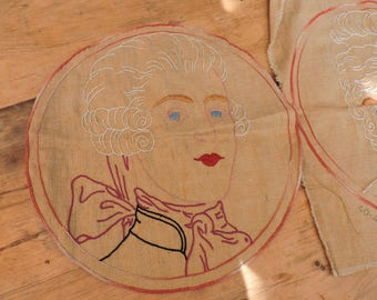 Two Vintage Embroidery -  Handmade Embroidered - French Cushion Covers