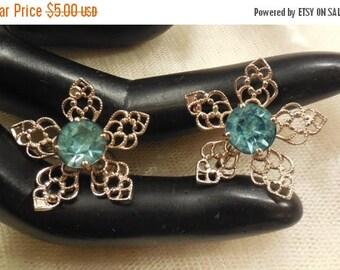 ON SALE Vintage Filigree Floral Design Blue Rhinestone Earrings
