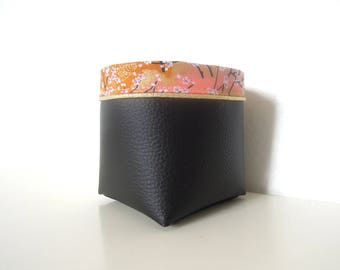 "Storage pocket "" Imitation leather black, pink japanese cherry tree flowers and golden piping """