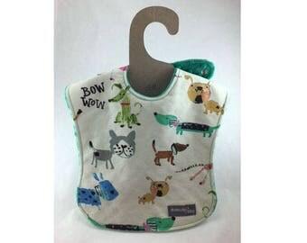 Baby boy bib, baby girl bib, baby bib, leak proof bib, 1st birthday bib, dog bib, shower gift, ready to ship, puppies, first birthday