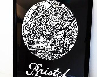 Bristol Map - City Map - Housewarming - Unique Gift - Laser Cut - Minimal