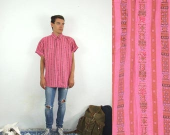 ON SALE 80's vintage men's boho pink shirt with geometric patterns