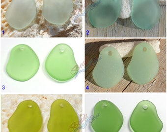Sea Glass Freeform Green 2pcs (26X18mm) Cultured Sea glass Drilled Sea Glass Beads~Beach Glass Pendant Beads