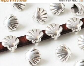 Buy Now 2 Mini Shell Sliders, 5mm Flat Leather Cord Bracelet, Jewelry Supply, 5mm flat Silver Zamak Finding, Craft supplies, slide, Kallyco
