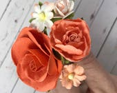 Orange and Peach Flower Hair Pins for Weddings, Prom, Bridesmaids // Thank You Gift Set // Bobby Pins for Romantic Hair Styles