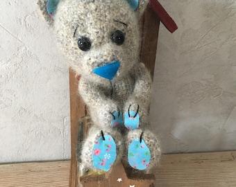 Little wool crocheted mohair bear