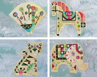Shiny Little Zoo - instant download PDF - modern counted cross stitch ornament pattern