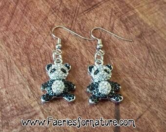 Panda Bear SilverEarrings/Panda Bear Necklace/Panda Jewelry/Giant Panda Bear Necklace/Gift For Her