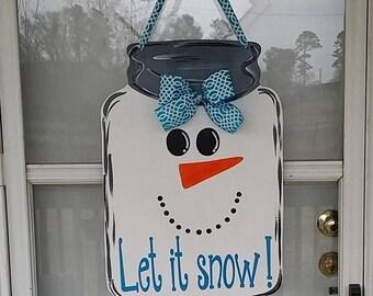 Winter snowman door hanger, snowman door decoration, snowman decor