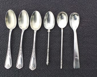 Vintage French Bundle of 6, 4 Silver Plated 'Metaille Blanc' 1 Marked Silver 1 Poss SilverTea /Coffee Spoons Real Luxury Quality