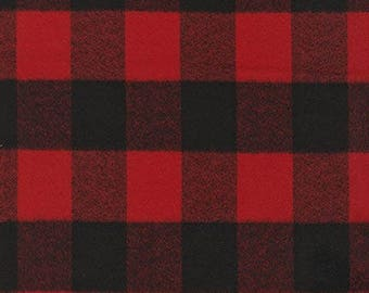 Red and Black Plaid FLANNEL Fabric - Mammoth Flannel for Robert Kaufman. Checkers - 100% cotton flannel. SRKF-14876-3