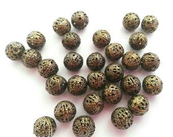 20 Hollow Bronze Beads 10mm