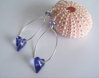 Tanzanite Purple Crystal Hearts on Sterling Silver Hoop Earrings - Item E2434