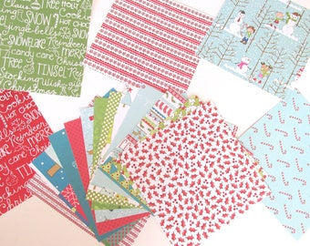 """Printed Cardstock - 6"""" X 6 """" squares - Jolly Christmas Collection 18 squares - Cardstock - Printed Cardstock - Christmas Cardstock"""