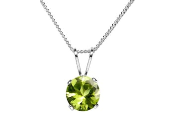 6mm Round Faceted Genuine Parrot Green Peridot 925 Sterling Silver Pendant + Chain / Necklace