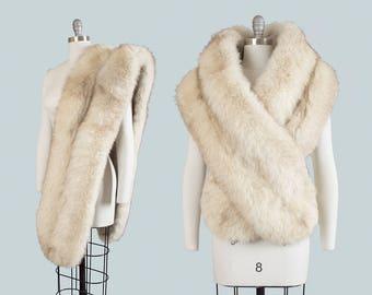 Vintage 1950s Fur Stole | 50s Fox Fur Wrap Long Plush Cream Bridal Evening Glam Holiday Shrug