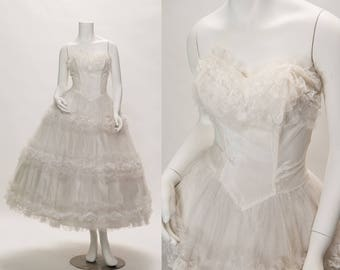 white ruffle tulle strapless + full skirt dress vintage 1950s • Revival Vintage Boutique