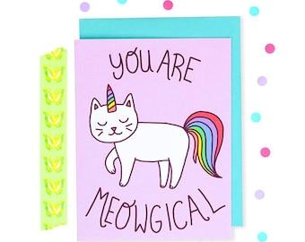 Moving SALE Cat Unicorn Card, Meowgical, Purple, Rainbow Cat, Bestie Card, Birthday Card, Best Friend, Just Because, Celebration Card,