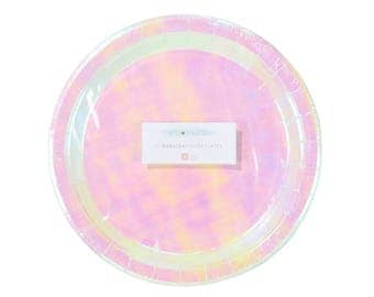12 x Iridescent plates, Pastel plates, paper plates, party plates, mermaid party, rainbows and unicorn, pink and gold, disposable plates
