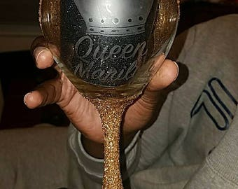 Glittered stem Personalized Etched wine glass