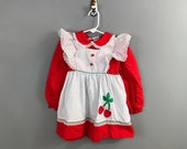 1980s Red Cherry Girls Dress / 1970s Vintage Cherry Applique with Ruffles Little Girls Dress / 4T Toddler Girl