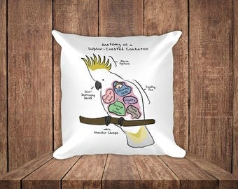 Anatomy of a Sulphur-Crested Cockatoo - Funny Bird Square Pillow