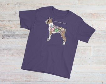 YOUTH TEE - Anatomy of a Boxer - Funny Boxer Dog Tee - Youth Short Sleeve T-Shirt