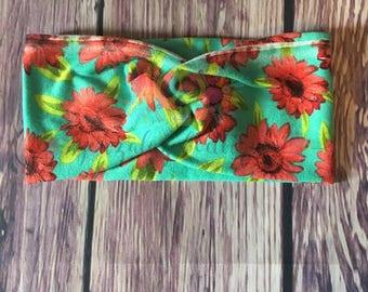 floral twisted headband-Tropic/tropic floral headwrap/tropic headband