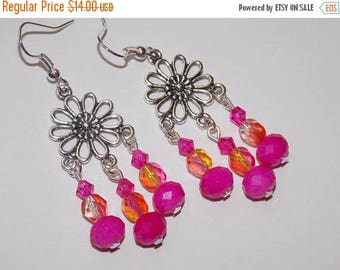 15%OFF Hot Pink Glass Bead Hot Pink Crystal Silver Flower Earrings