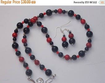 20%OFF Black Onyx Red Turquoise Red Crystal Necklace and Earring Set