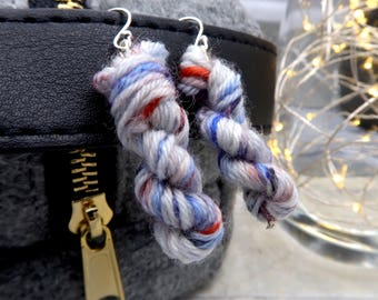 Yarn Skein Earring (.925 Sterling Silver) - OOAK (and unnamed) Colorway, with reds, greys and blues