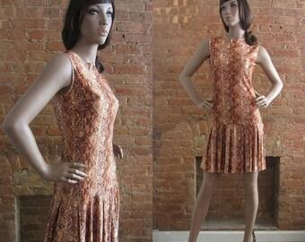 December Sale 1960s brown snake print scooter dress | 60's Mod Go-Go | S