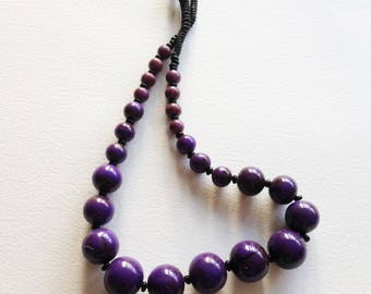 Necklace - large purple plastic beads long necklace chunky slighly marbled with brown