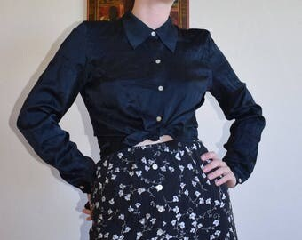 Black Matte Silk Button Up