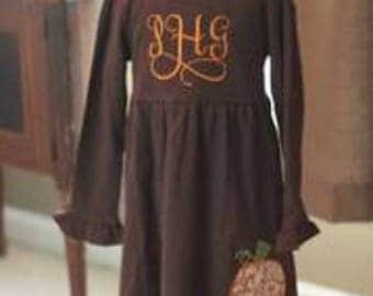Girls fall dress/pumpkin dress/girls/fall embroidery dress/