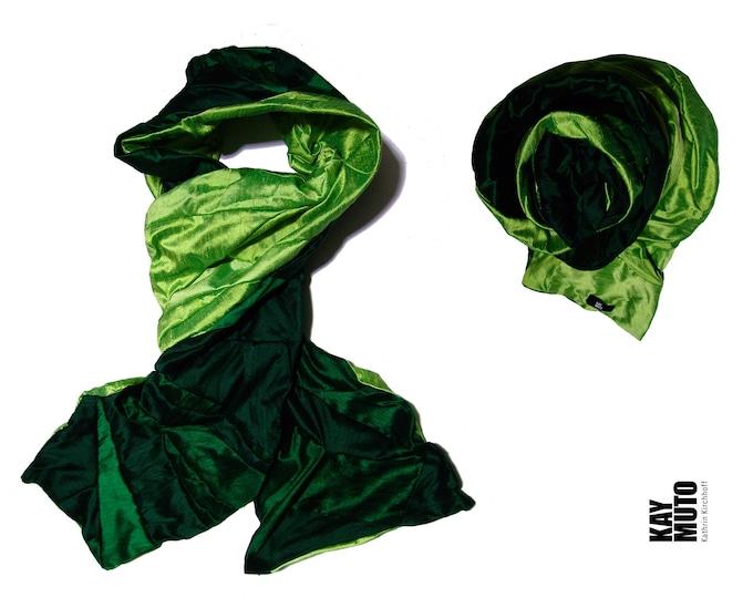 scarf shawl stole patchwork raw silk EMERALD APPLE Scarf Amorph upcycling