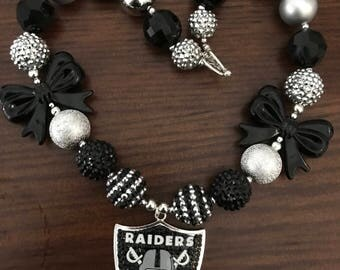 Oakland Raiders Football NFL Black and Silver Sports Bubble Gum Necklace -2 Styles (Adult or Child)