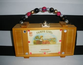 Tampa Girl Cigar Box Purse, Authentic, Tampa, Zebra Lined