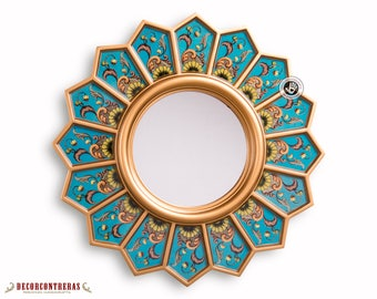 Round Sunflower wall Mirror 'Turquoise sunflower'- Decorative sunburst Mirrors - Reverse Handpainted glass - Peru Handicraft vanity mirror